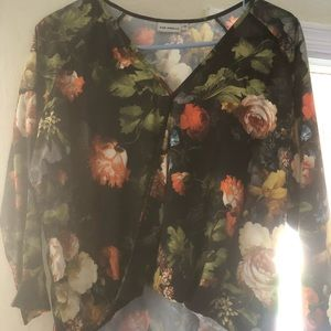 Anthropologie floral high low shirt XS